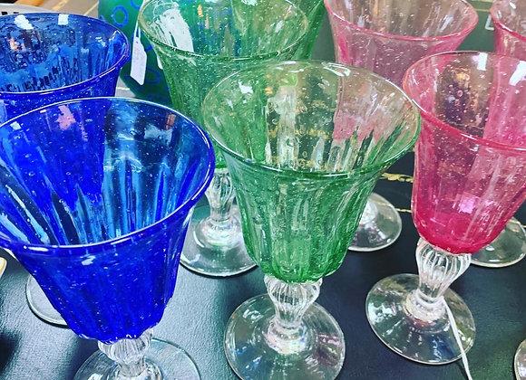 12 glasses.Handblown, bubble glass. Heavyweight.
