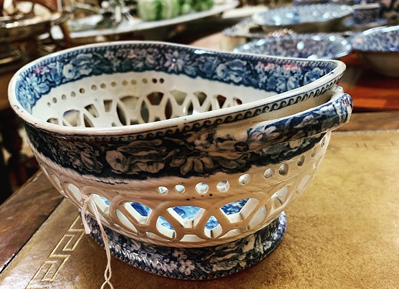 Antique blue and white basket