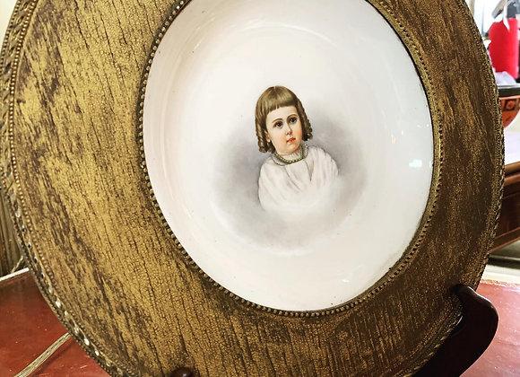 Antique commemorative plate, wood framed for hanging.