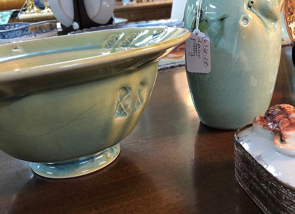 Glazed pottery, bowl and vase.
