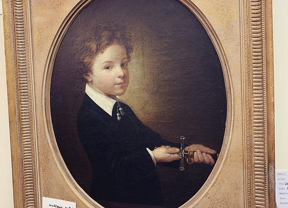 Antique Portrait . Le Petit Chevalier. Oil.