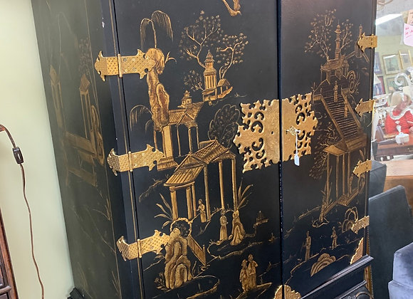 """Tall Chinoiserie cabinet. 76"""" hi."""