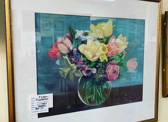 Pastel Vase of Flowers Art