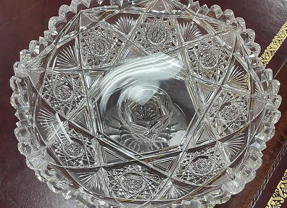 Antique cut glass pedestal candy dish