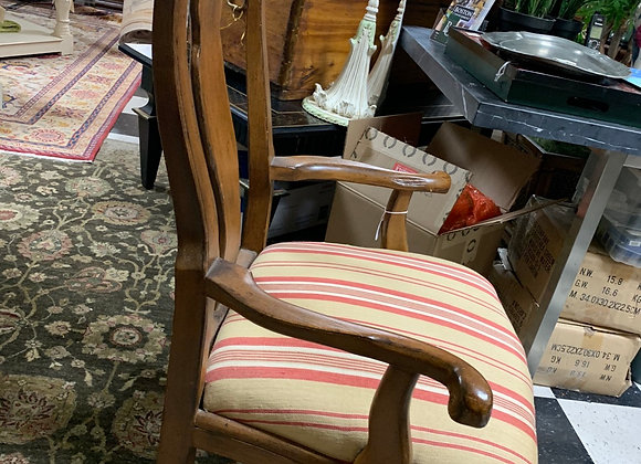 Queen Ann fiddleback armchair. One only. Walnut color.