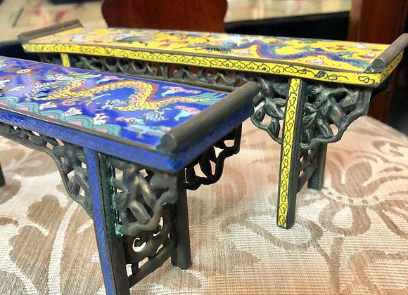 Altar tables, Miniature Chinese cloisonné, pair.