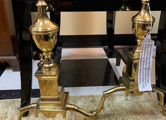 Andirons. Virginia Metalcrafters. Brass.