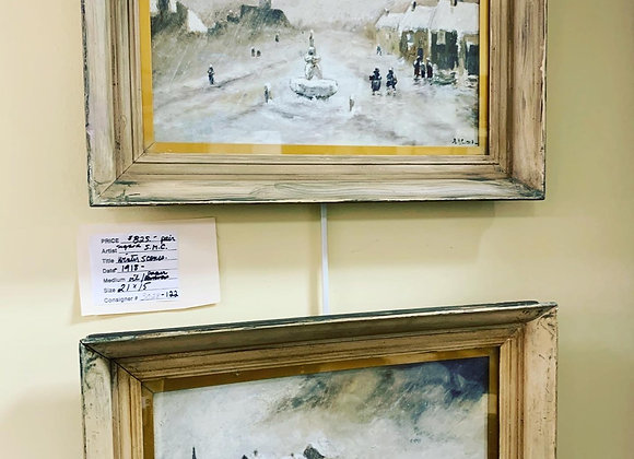 1918 oil on paper winter scene