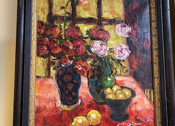 Roses, still life oil painting. Signed.