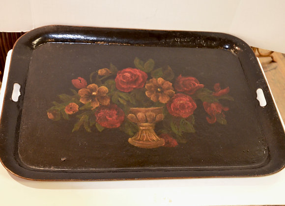 Antique hand painted tole tray. Large and artful.