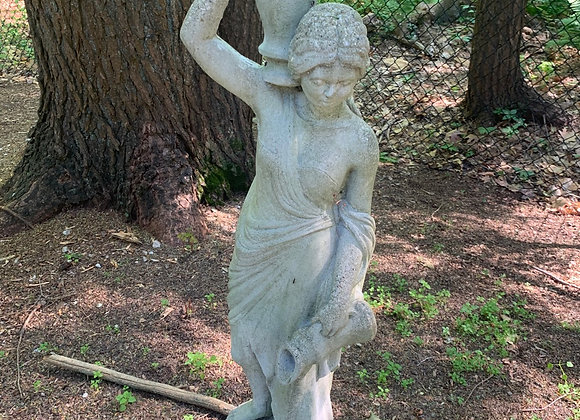 Garden Statue, woman carrying water basket.
