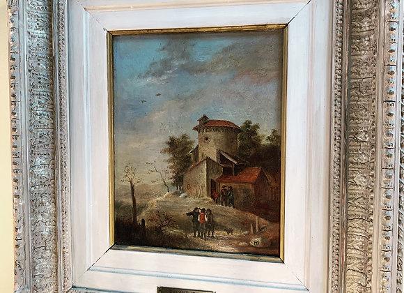 1840 original oil. Jean Dunant. Farm Scene.