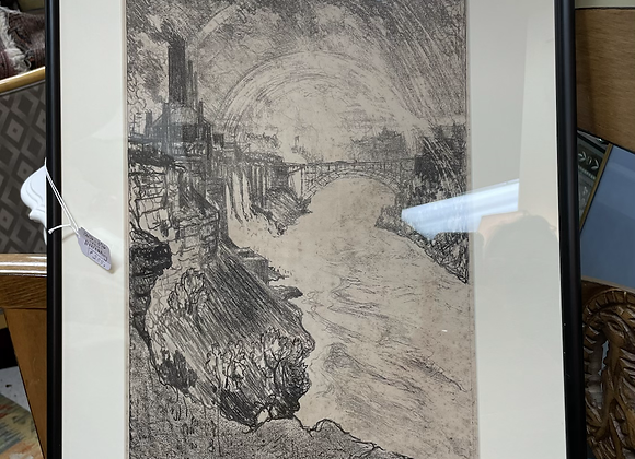 Antique black and white etching