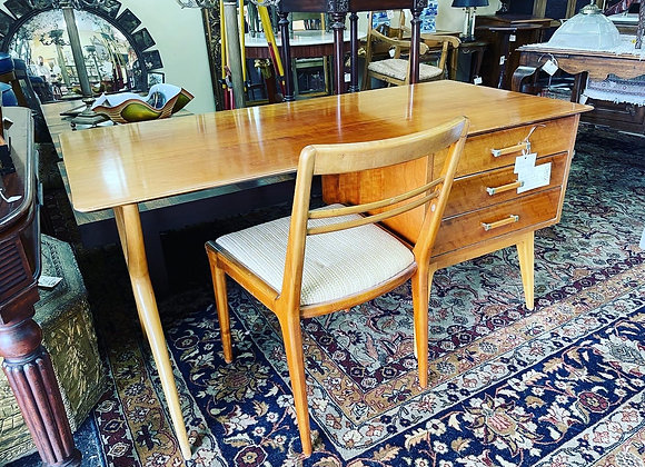 Mid century desk, chair.