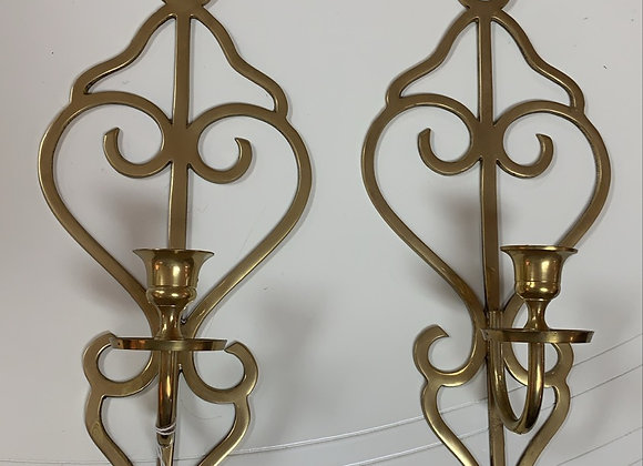Brass candle sconces