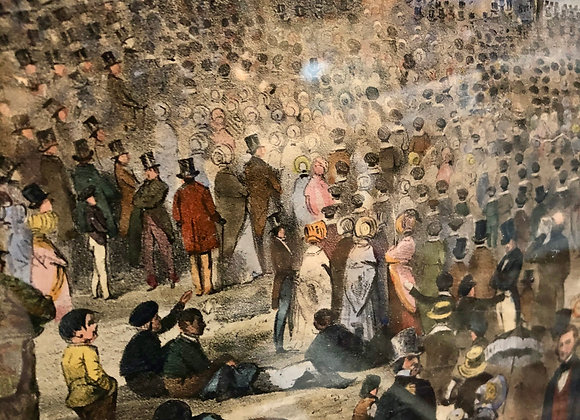 Boston Celebration.Hand colored 1848 lithograph.