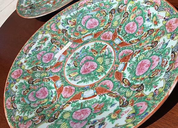 "Rose medallion round platter/ tray. 16"" d."