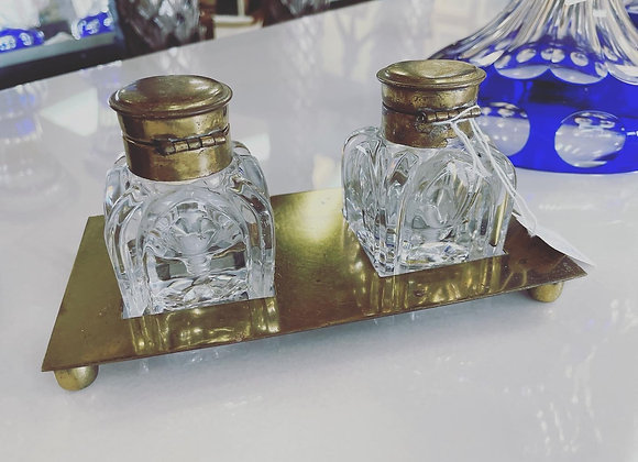 Glass and Brass inkwell
