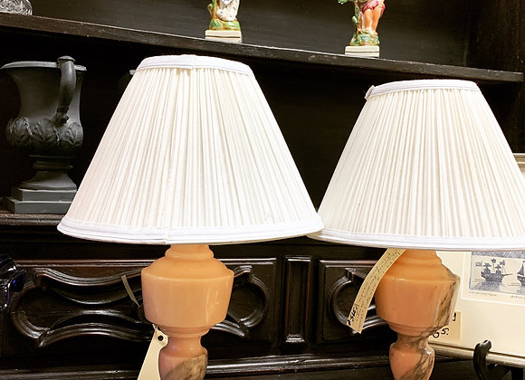 Pale pink Marble lamps , pair.