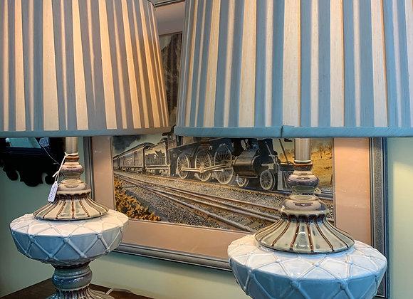 Lamps, Glazed ceramic, silk shades.