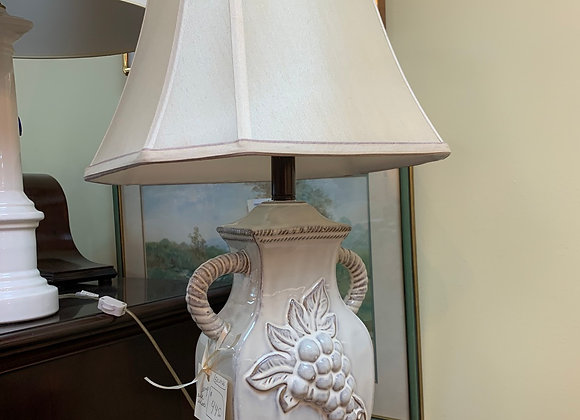 Lamp with silk shade.