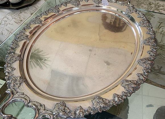 Antique Tray , silverplate. Large, with handles.