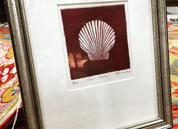 Framed scallop  engraving.