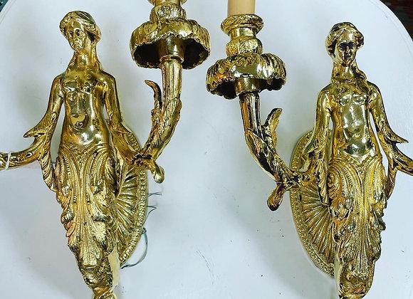 Pair. 24 karat finish, bronze sconces. Greek Goddess.