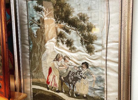 Antique French silk framed art