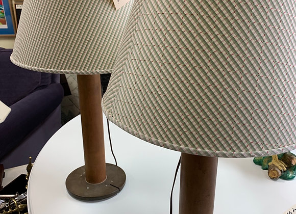 Lamps, industrial spools. Clever.