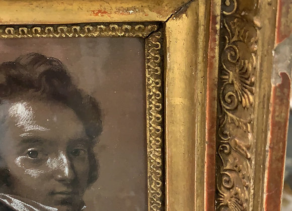 Antique Portrait . Small. Highlighted by hand.