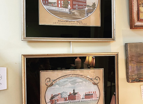 Harvard College antique silk screens, price for the pair.