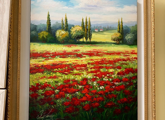 Poppies, French countryside.. Oil on canvas.