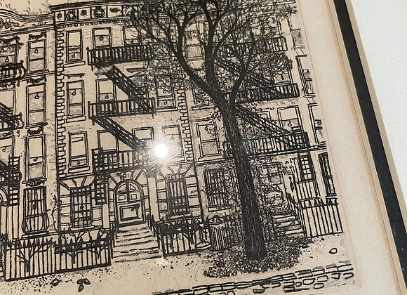 """Signed lithograph """"brownstone"""""""