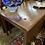 "Thumbnail: Mahogany Hepplewhite drop leaf table 76"" long."