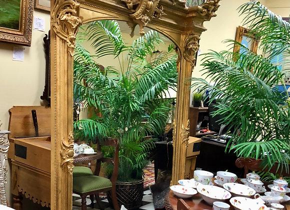 7 3/4 feet hi antique mirror. 19th century. European.