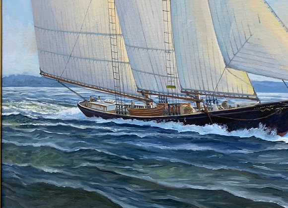 "by Robert Oliver. Oil, signed. ""Close-Hauled"""