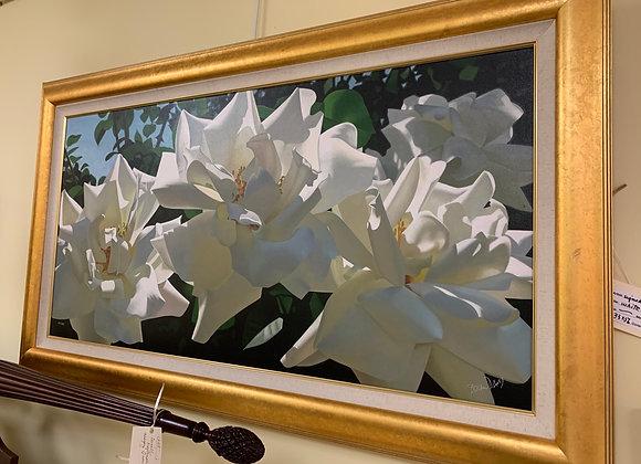 White flower art signed