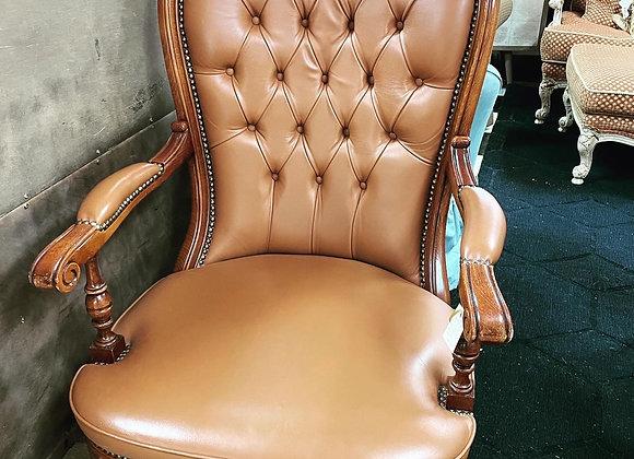 Leather desk chair, wheels