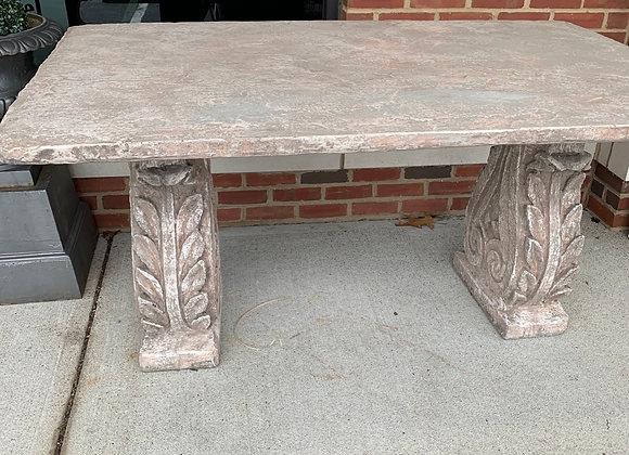 Vintage natural stone table. 5' long. Outdoor.