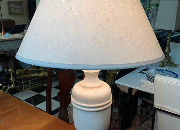 Lamp and shade, urn shape. Faux marble design.