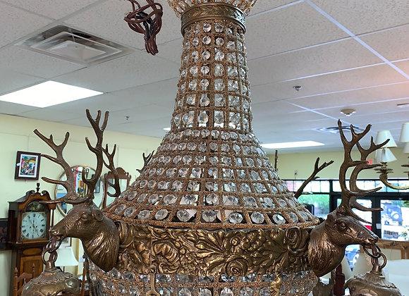 Vintage chalet deer chandelier