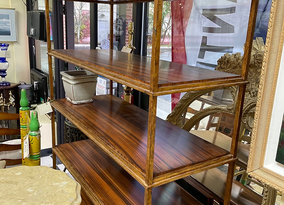 Bookcases / Shelves (2).  Gilt metal, appears to be zenga wood.