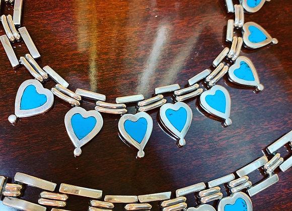 Sterling 1950's necklace, bracelet. Turquoise.