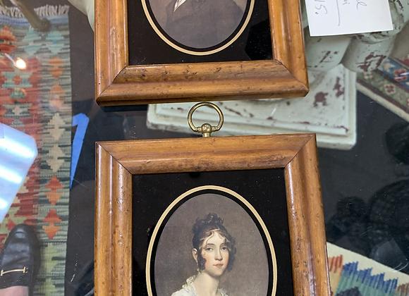Portraits, pair.