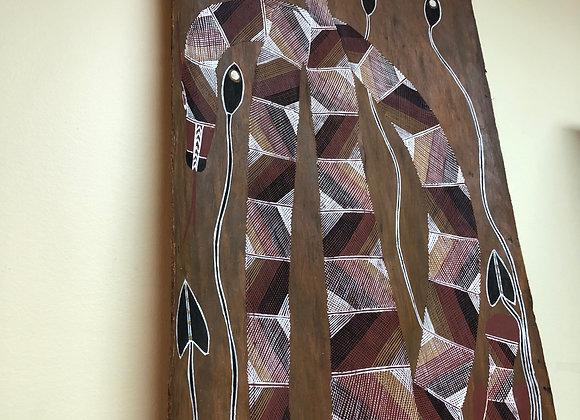"""Aboriginal painting on bark.  56"""" hi. 1975. Djawida Nargorlgorl"""