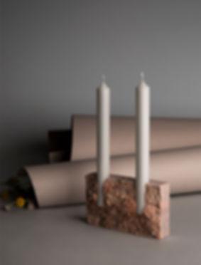 snug travertine candle holder völker