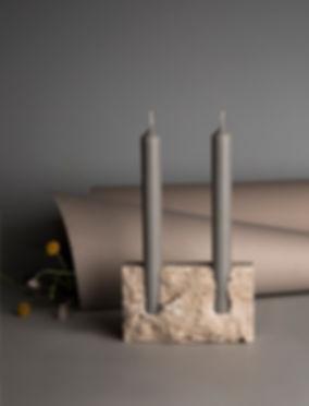 snug candle holder raw travertine