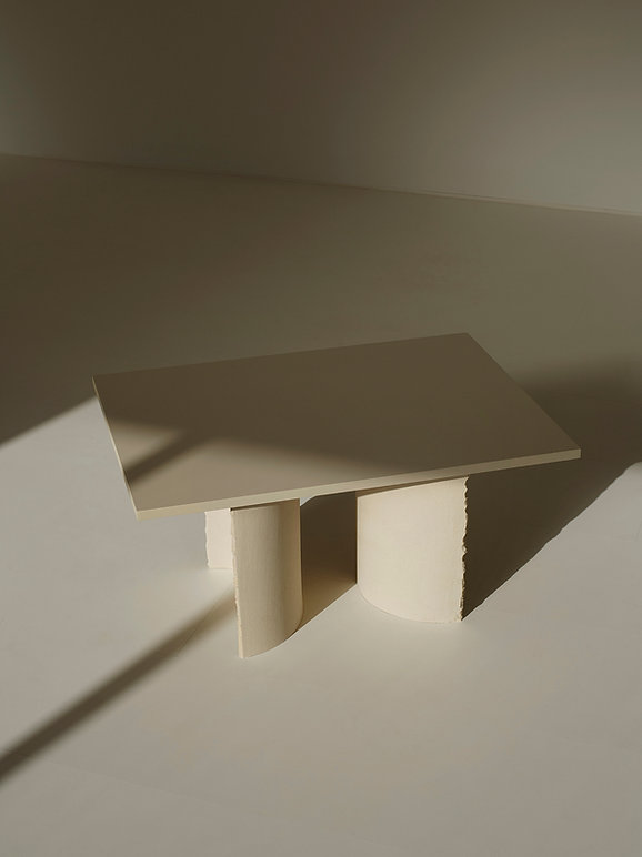 hadcrafted clay table by sanna völker