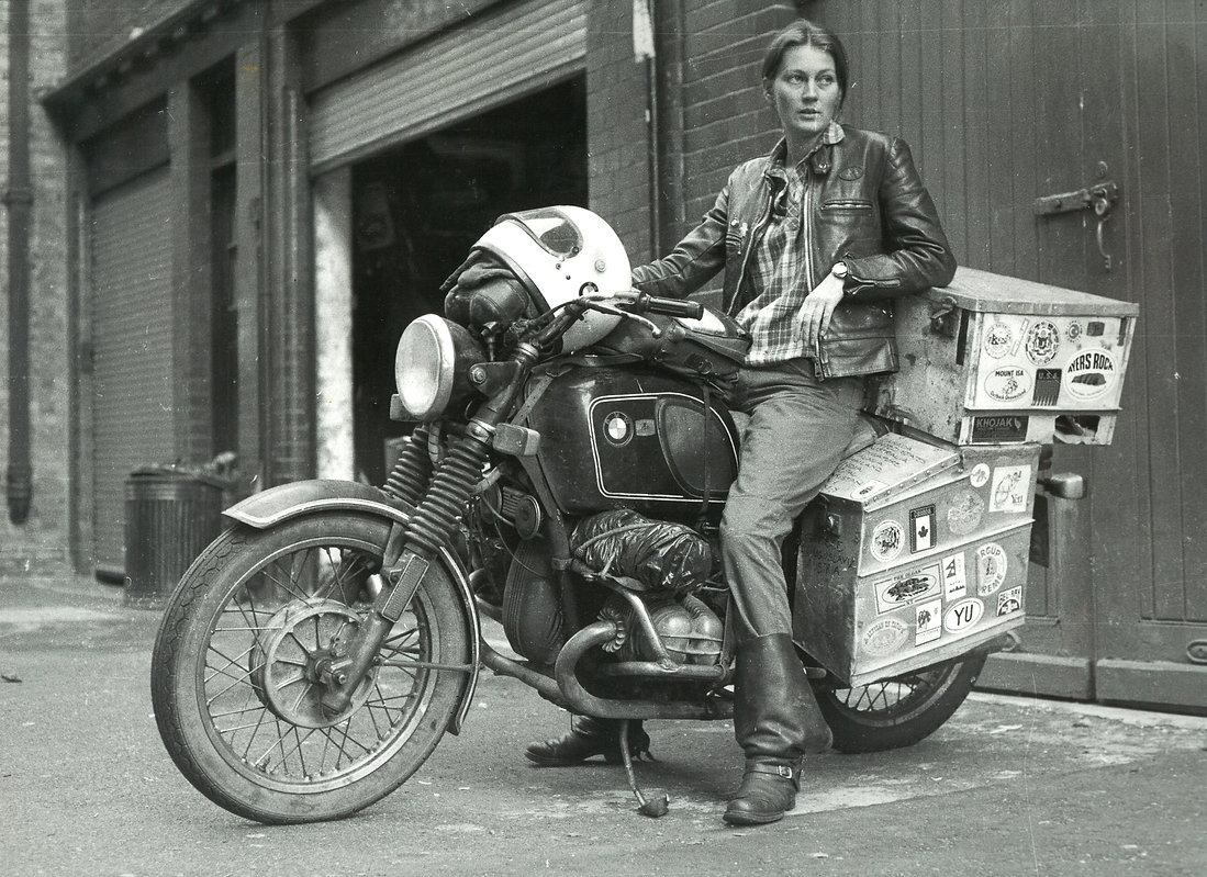 Elspeth Beard, Lone Rider. First British woman to ride round the world on a motorcycle.